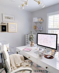 home office ideas for women / home office . home office ideas . home office design . home office decor . home office space . home office organization . home office ideas for women . home office setup Cozy Home Office, Home Office Space, Home Office Design, Home Office Decor, Office Furniture, Home Decor, Office Designs, Furniture Layout, At Home Office Ideas