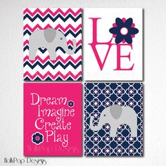 Nursery Art Prints Baby Girl Elephant Chevron by HollyPopDesigns, $43.00