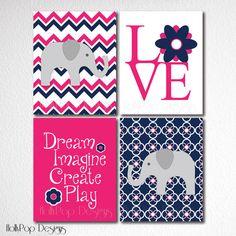 Nursery Art Prints Baby Girl Elephant Chevron by HollyPopDesigns, $43.00