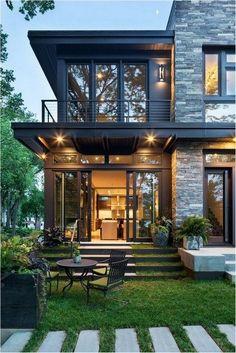 Modernes organisches Haus im See Calhoun, Minneapolis - modern houses - Home Design Design Exterior, Modern Exterior, Exterior Colors, Exterior Siding, Exterior Windows, Stone Exterior, Front Windows, Large Windows, Exterior Paint