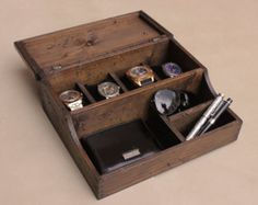 Watch Box, Watch Case, Men's Watch Box, Watch Box for Men, Wood Watch Box, Watch Display, Gift, Custom Valet and Watch Box for 4 Watches