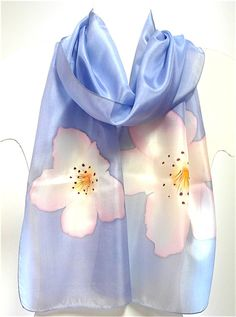 Hand painted silk shawl with a cherry blossom scarves by EwaGrol, zł129.00