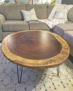 Custom Live Edge Round Acacia Coffee Table