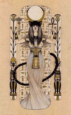 Bastet the Egyptian Cat Goddess of Cats Egyptian Mythology, Egyptian Symbols, Egyptian Goddess, Bastet, Egypt Art, Vampire, Gods And Goddesses, Illustrations, Mythical Creatures