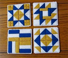 Quilt Block Coasters Blue Gold White Set of 4 on etsy