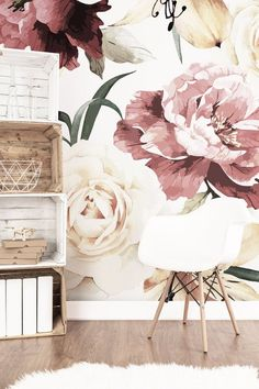 Floral Wallpaper Vintage Roses Flowers Peonies Nursery Repositionable Peel    Stick Mural Removable Baby Girl Wall b15c5249a8