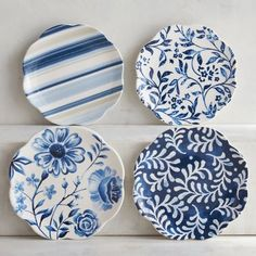 Our Azure Floral Appetizer Plates combine the crisp, clean look of blue on white with the eclectic look of flowers and stripes. Pretty enough for guests, our ironstone plates work for family snacks, too—they're dishwasher-safe and can be used in the microwave.