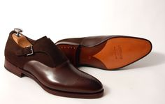 Meermin brown suede and leather monk shoe with brogue detail