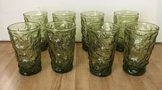 8 Vintage Anchor Hocking Green Lido Milano Crinkle 4oz Juice Glasses Mid-Century #AnchorHocking