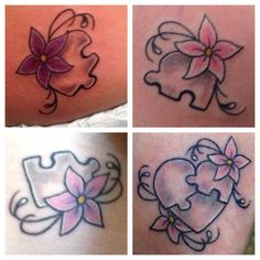 Family tattoos puzzle piece flower