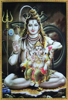 Lord Ganesha in lap of his father Lord Shiva