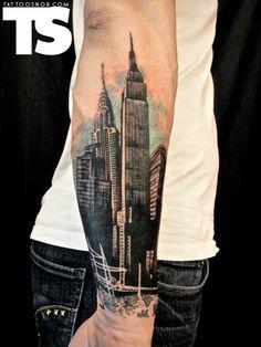 Картинки по запросу city line and forest tattoo