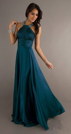 Classic High Neck Halter Prom Dress Dark Teal Long Silky Satin