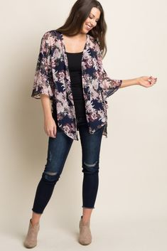 This flowy, floral, bell sleeve kimono is lightweight and easy to layer over so many outfits. With its light chiffon material and fun floral print, this kimono will be your new go-to. Style with a basic top and jeans for a complete look. Floral Kimono Outfit, Kimono Fashion, Fashion Dresses, Chiffon Kimono, Floral Chiffon, Print Chiffon, Kimono And Jeans, Kimono Cardigan, Chiffon Cardigan