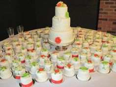 """Cute way to cut back on the cost of one large cake! Mini cakes that match the """"smaller"""" cake."""