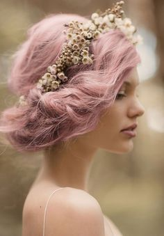 A messy pink up-do with a decorative headband #Valentine's Day #pink #bun