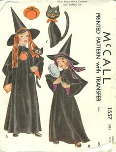 Awesome vintage ca. 1950 Halloween witch costume pattern complete with her little black cat to carry! Grabbed at a yardsale for 1950s Halloween, Vintage Halloween Images, Halloween Boo, Halloween Cards, Holidays Halloween, Happy Halloween, Halloween Witches, Halloween Ideas, Halloween Pictures