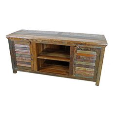 Mexicali Plasma TV Stand - Mexicali Rustic Wood TV Stand. Heavy, Recycled Wood is used throughout Every piece in the Mexicali Furniture Collection. Refined rustic charm meets Old World Style. Each piece is as beautiful as it is unique. While no two items are ever identical, subtle variations in color and wood grain ensure that Every piece is part of the conversation. Dimensions: 60'' l x 27. 5'' h x 20'' w Middle Shelf Dimensions: 20'' l x 9'' h x 19'' w Closed Cabinet Shelf Dimensions: 18''…