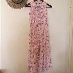 Pure Vintage Dress Light pink with a floral print. Buttons all the way down, and can be worn open as well. Tagged Urban for views. Urban Outfitters Dresses Maxi