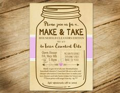 doTERRA / Young Living / Make and Take Party / Essential Oils / Mason Jar Invitation by PocketfulOStationery on Etsy https://www.etsy.com/listing/277493340/doterra-young-living-make-and-take-party