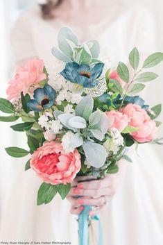 Get The Look: Pink Spring Silk Flower Bridal Bouquet | more wedding ideas & bridal inspiration @danellesbridal danellesboutique.com