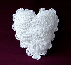 Crochet heart pillow cushion Pattern 120 wedding rings wedding