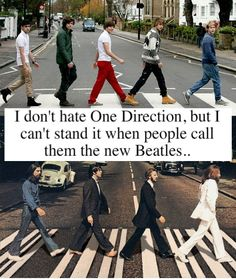 """I don't hate (but I don't like) One Direction, but I can't stand it when people call them the new Beatles. If it wasn't for The Beatles, One Direction wouldn't exist, because The Beatles changed music, and for people to even compare One Direction to The Beatles offends me, yeah they're alright, and I respect them, but no chance in hell could they ever replace The Beatles in any way EVER."""""""