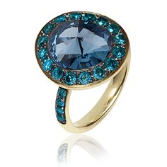 Dusty Diamonds Medium Ring. Dusty Diamonds now available in stunning new combinations of coloured diamonds and vivid stones, such as this beautiful 18ct Gold Medium Dusty Diamond ring featuring a4.20ct London Blue Topaz surrounded by 1.35ct brilliant blue diamonds.