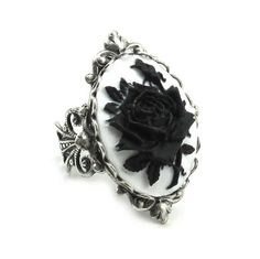 Gothic Lolita Jewelry - Neo Victorian Cameo Rose Ring in White on Black by Ghostlove