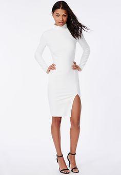 Crepe High Neck Midi Dress Side Split White