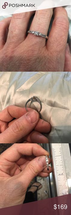 10k - Delicate 3stone diamond +++plus ring 3 center diamonds = .17ctt- and diamonds Down  sides add up to approx. .20ctt --- approx. .37carat total weight - a beautiful design- stamped 10k Jewelry Rings
