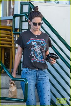 Katie Holmes Wears a Metallica Shirt for Casual Friday Outing: Photo Katie Holmes steps out in her Metallica tee while picking up lunch on Friday (July in Westwood, Calif. Katie Holmes, Old Actress, Metallica, Tees, Shirts, Photo Galleries, Friday, Actresses, Casual