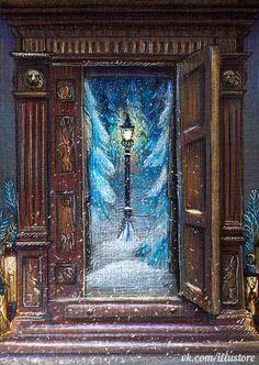 fantasy, illustration, нарния, narnia, шкаф, зима, снег, новый год, рождество, christmas