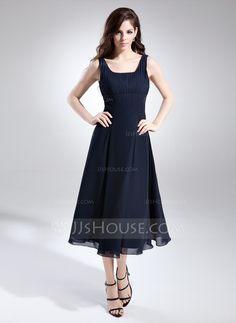 7677860ee078 A-Line Princess Square Neckline Tea-Length Chiffon Bridesmaid Dress With  Ruffle (