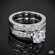 Cathedral Channel-Set Diamond Engagement Ring and Wedding Ring