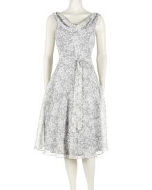 Mini Floral Print Cowl Dress - This mini floral print dress from MSK evokes a lady like femininity. A cowled neckline and keyhole back add delicate detail. A matching fabric belt cinches a shirred waist to enhance the feminine figure.
