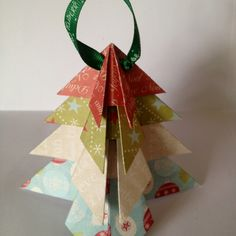 Origami Christmas Tree or a teabag fold ornament