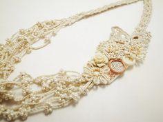 Irish Crochet Lace Jewelry Lace Fantasia by DorisChiStudio on Etsy, $95.00