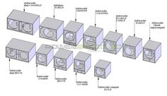 Various subwoofer box designs.