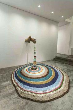 Ana Teresa Barboza Untitled, log and fabric installation, variable dimensions, Yarn Bombing, Art Au Crochet, Knit Art, Fabric Installation, Art Installations, Light Installation, Urbane Kunst, Instalation Art, Art Yarn