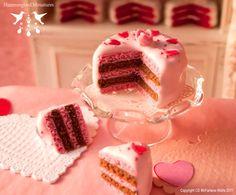 Romantic Valentines Cake 1/12 scale by HummingbirdMiniature, $29.00