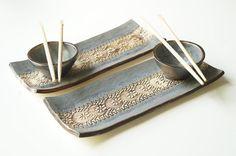Rustic Sushi Serving Set Set of 2 Trays Grey Sushi Set by bemika