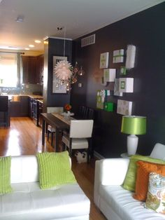 #grey, #green, #orange living room dining room