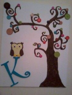 Curly button tree painting by tiffanyrenae08 on Etsy, $30.00
