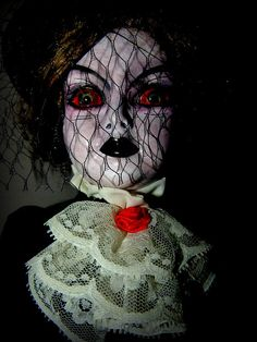 Woman in Black - I like the netting over the face - could use fishnet stocking?