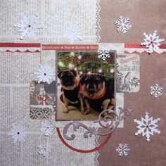 Another holiday page- I used the Christmas card my best friend sent me of her rescued pugs aren't they the cutest! #scrapbooking