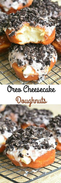 Easy doughnuts stuffed with cheesecake mixture and to… Oreo Cheesecake Doughnuts. Easy doughnuts stuffed with cheesecake mixture and topped with sweet glaze and crushed Oreo cookies. from willcookforsmiles… Just Desserts, Delicious Desserts, Dessert Recipes, Yummy Food, Health Desserts, Dessert Ideas, Donut Recipes, Baking Recipes, Gourmet Donut Recipe