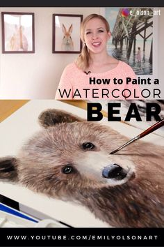 Watercolor Bear Painting Tutorial - Grizzly Bear Cub Step by Step// Learn tips, tricks and techniques for how to paint a realistic fur and an expressive bear cub portrait with this step by step narrated tutorial. Bear Watercolor, Watercolor Animals, Watercolor Painting Techniques, Watercolour Tutorials, Baby Animal Videos, Painting Fur, Bear Paintings, Bear Cubs, Grizzly Bears
