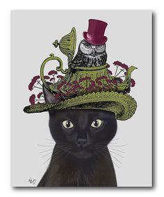 Look at this Black Cat with Teapot & Owl Wrapped Canvas on #zulily today!