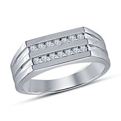 1.24 Carat Men's 10K White Gold Finish Diamond Engagement Wedding Band Ring  #br925silverczjewelry #WeddingBand